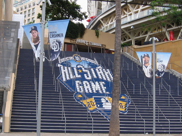 An impressive 2016 All-Star Game logo on steps leading up into Petco Park. Fans heading to the big game will be welcomed in a big way!