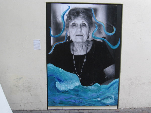 An arresting work of art glimpsed in downtown San Diego near the Santa Fe Depot. A strong woman rises from the turbulent ocean. Part of MCASD's FOCUS Binational Exhibition.
