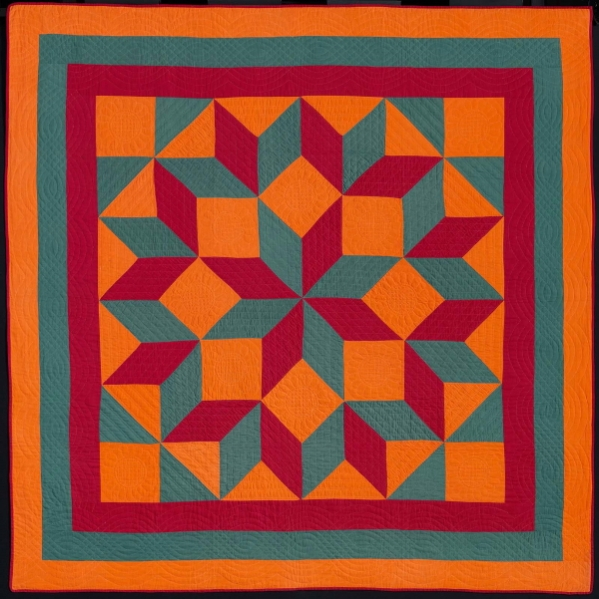 Carpenter's Wheel quilt, Mennonite, about 1890. Made by Mrs. Miller in Easton, Pennsylvania.