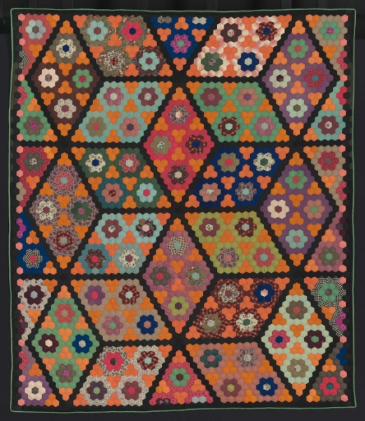 Field of Diamonds quilt, about 1860. The design is achieved by creatively combining hexagons.