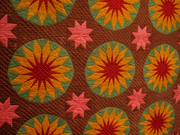 Close-up photograph of fantastic Sunburst quilt.