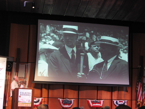 One brief moment in a 63 second video that relives MLB All-Star Game history, seen in the San Diego library's auditorium during the Talking Baseball event!