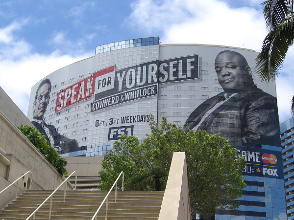 A huge MLB All-Star Game building wrap has appeared on the Marriott Marquis hotel in downtown San Diego! Promoted is the sports talk show on FS1 called Speak For Yourself, with Colin Cowherd and Jason Whitlock.