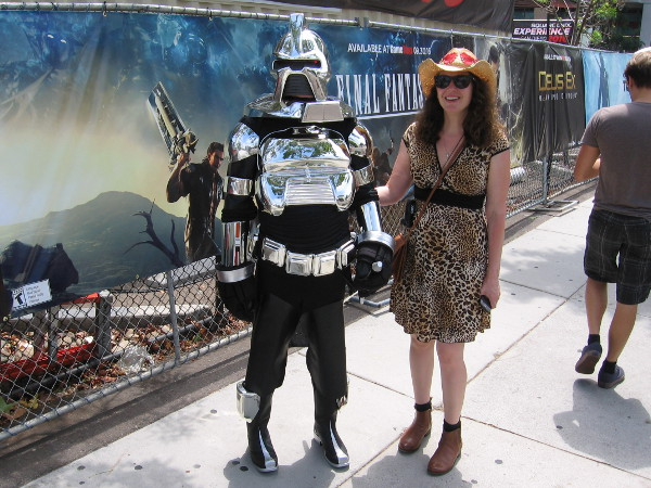 This cool cosplay of a Cylon from the original Battlestar Galactica even had a moving red light in its helmet and sound effects!