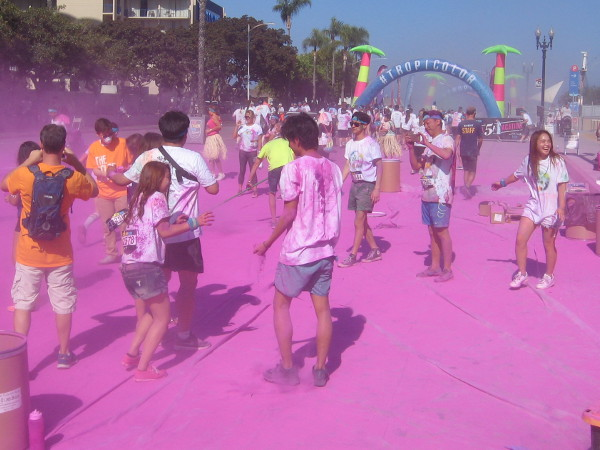 The finish at the MLB All-Star 5K Color Run this morning was a crazy scene! Different colored chalk was tossed and blown onto laughing, happy participants.