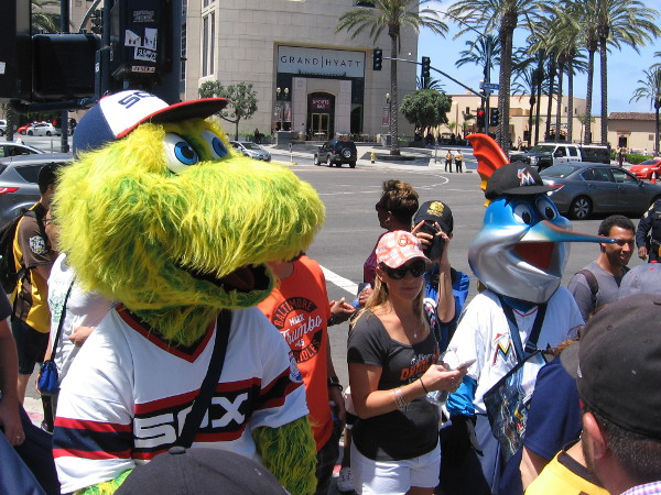 Before the official start of the 2016 MLB All-Star Game Red Carpet Parade, team mascots begin down the route through downtown San Diego.
