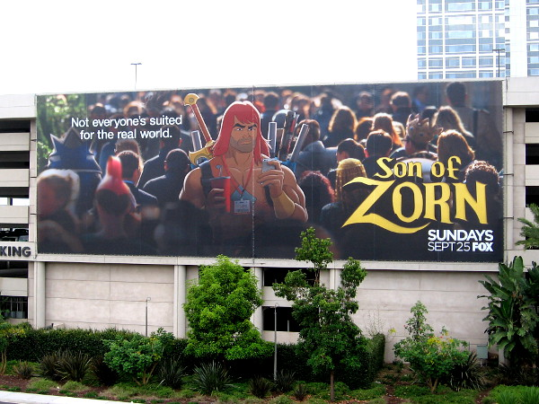 One of the three large Son of Zorn banners hung on the parking garage of the Hilton San Diego Bayfront for 2016 Comic-Con.