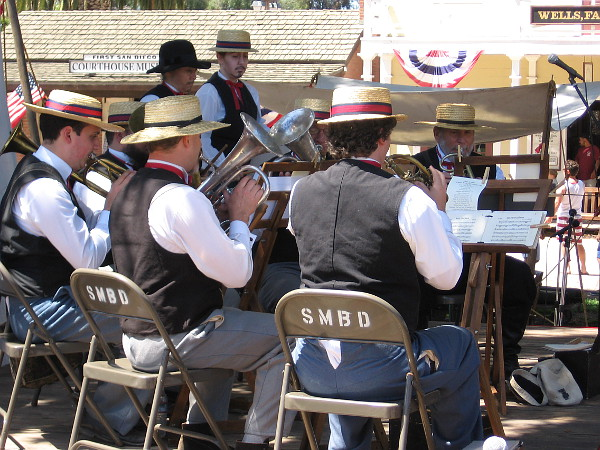 The Armory Band played music popular in America long ago--patriotic tunes that citizens in San Diego would have enjoyed during the mid 1800s.