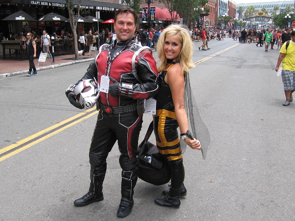 A great cosplay of Marvel's famous superhero couple, Ant-Man and the Wasp.