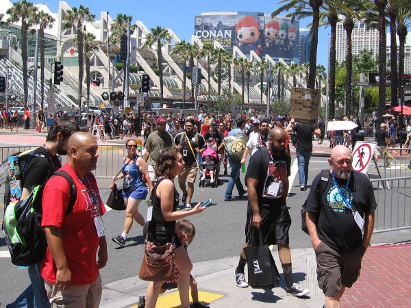 Thursday outside San Diego Comic-Con. Crowds of pop culture fans can be seen all around the convention center and Gaslamp Quarter.