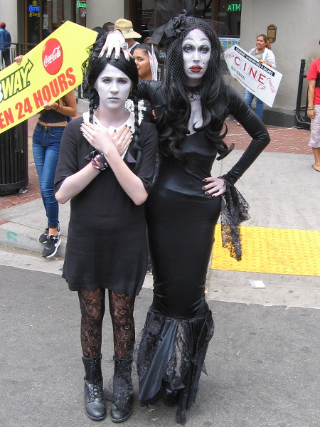 A truly great Addams Family cosplay on the street outside Comic-Con!