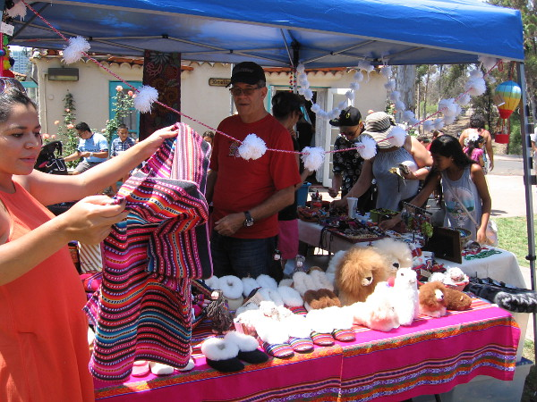Many Peruvian products were on display and for sale in tents around the grassy lawn.