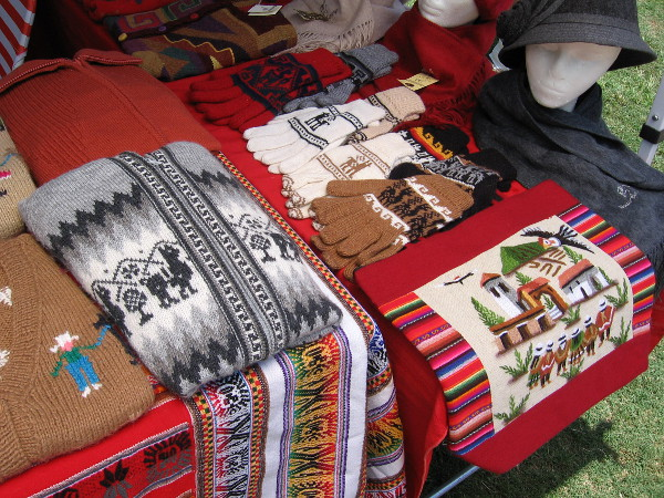 I was told the sweaters, mittens and other woven goods were made in Peru.