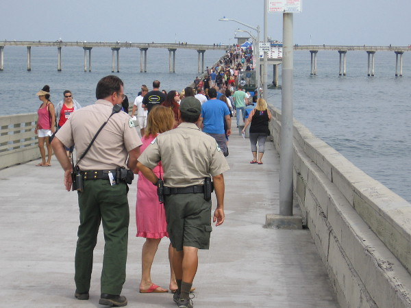 A good crowd turned out for the beloved pier's big day! Here we are looking west toward the Pacific Ocean.