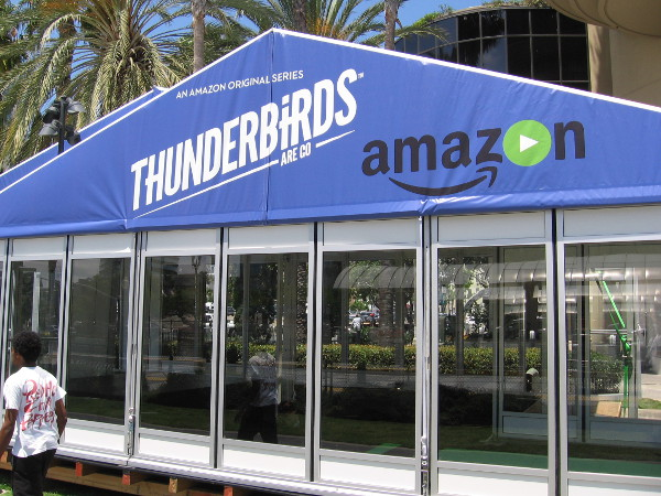 What I referred to as a stage under construction in yesterday's blog post is actually a small enclosed structure for Amazon's Thunderbirds Are Go.