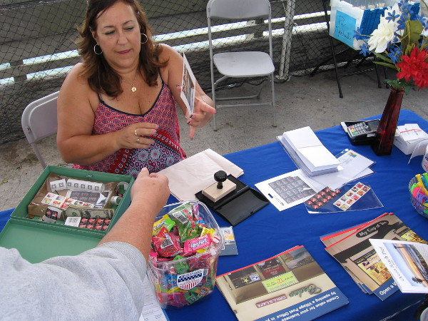 The United States Postal Service had a temporary philatelic station out on the OB Pier! Anyone could have a special pier postcard stamped with a custom-designed postmark!