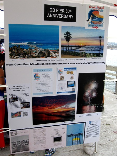 A poster highlights events at today's Ocean Beach Pier 50th anniversary. There will be spectacular fireworks this Fourth of July!