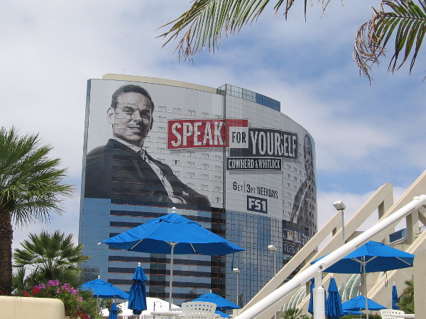 Another photo of the huge Speak For Yourself building wrap on the Marriott Marquis, right next to the San Diego Convention Center with its colorful umbrellas.