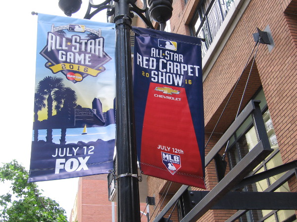 Here's a banner in the Gaslamp Quarter that advertises the All-Star Red Carpet Show! I'll be there and share photos!