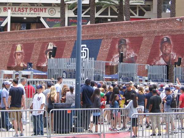 A bonus pic. Padres faithful hope to sweep the Yankees today. This is my first photo of the outside of the new Padres Hall of Fame, which plays tribute to Padres history and its most notable players.