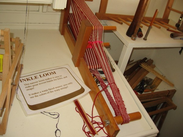 As you can see, this Inkle Loom is quite narrow. It's used to make woven bands for belts and straps.