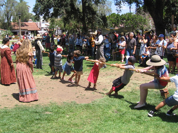 The center of the plaza became a center of attention as various tug of wars were contested by young and old alike.