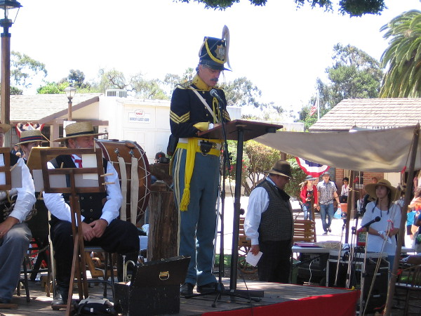 The keynote speech was by Tom Vilicich, portraying the 1st Sergeant, Company K, Ist U.S. Dragoons, who fought in the Battle of San Pasqual.