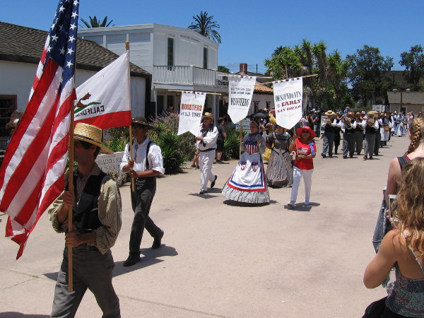 Represented in the small patriotic parade were Old Town volunteers, boosters, and descendants of early San Diego.