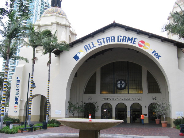 All-Star Game sign above the entrance to San Diego's historic Santa Fe Depot.