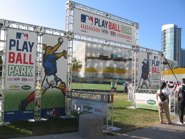 A small baseball field has been created in the grassy park between the Hilton Bayfront and the San Diego Convention Center. Here kids from around the country and nearby Tijuana, Mexico will compete in the All-Star Youth Classic!