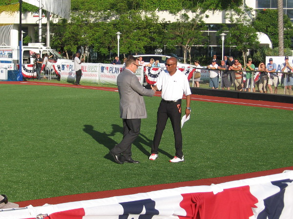 The brief opening ceremony of the All-Star Youth Classic at PLAY BALL PARK included speeches by representatives from Major League Baseball and our own San Diego Padres.