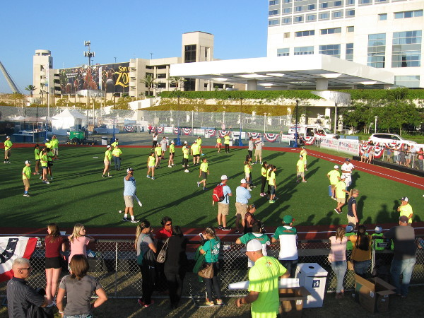Just a whole lot of youthful energy in front of the Hilton Bayfront at PLAY BALL PARK!