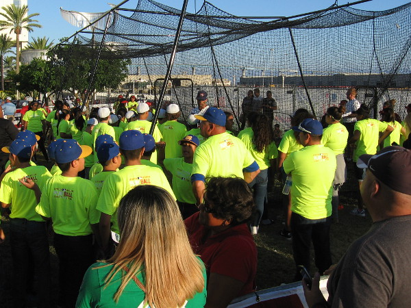 A batting cage was also very active during the baseball clinic.