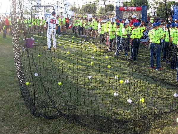 Lots of whiffle balls have been hit past the pitcher in the batting cage!