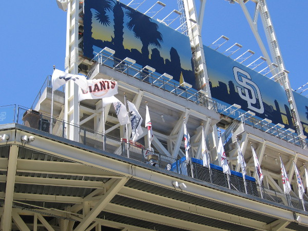 The San Francisco Giants had the only National League flag wildly flapping at Petco Park when I walked by Sunday morning. Oh, oh. It's an even-numbered year. An omen, possibly...