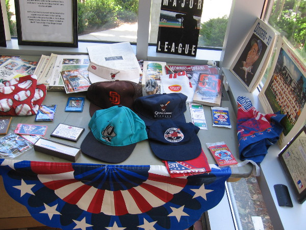 A huge collection of baseball memorabilia on display was courtesy of Andy Strasberg, who was once Vice President of Marketing for the San Diego Padres.