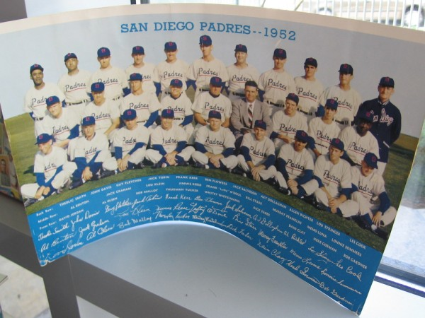 Cool old team photograph of the 1952 San Diego Padres, with the players' names and autographs!