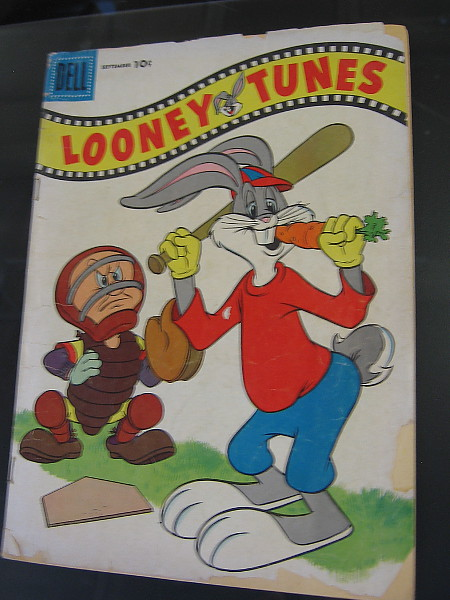 Even when at bat, Bugs Bunny likes to chomp on his carrot. What's up, doc?