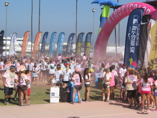 Yes, you guessed it, the Color Run is mostly about different colored chalk being launched every which way. Getting your shirt splashed with color is part of the fun.