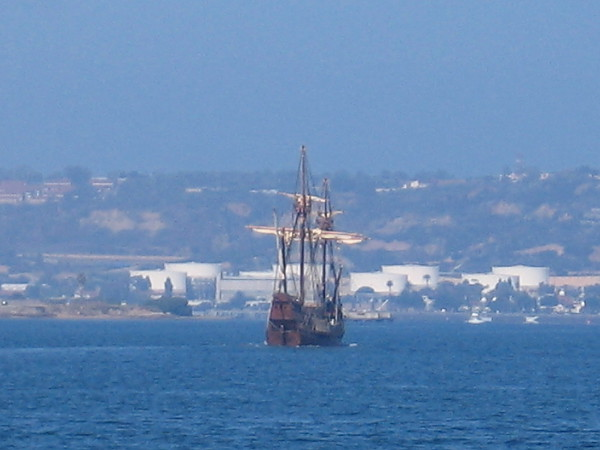 This All-Star belongs to the Maritime Museum of San Diego. It's the Spanish galleon replica, San Salvador. Walking along the water, I spotted it heading out toward the bay's entrance. I was told she's out on her 3rd or 4th test run. They're learning how to steer her with a rudder, just like they did centuries ago! I was also told she bobs up and down like a cork when out on the open ocean!