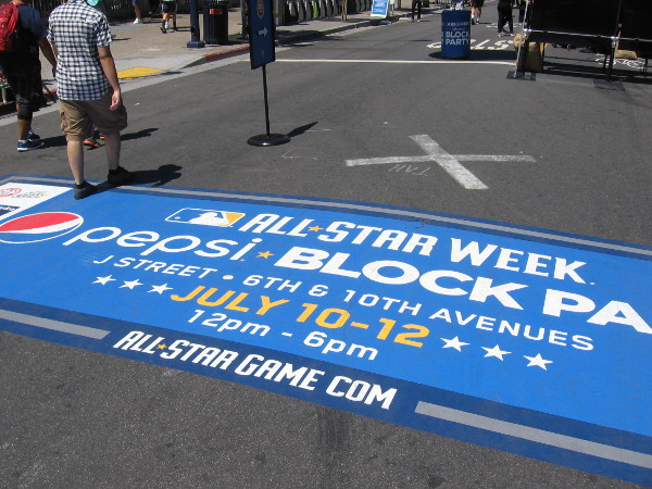 And finally, late this morning about an hour before it officially opened, I strolled down J Street where the All-Star Week Block Party would be held.