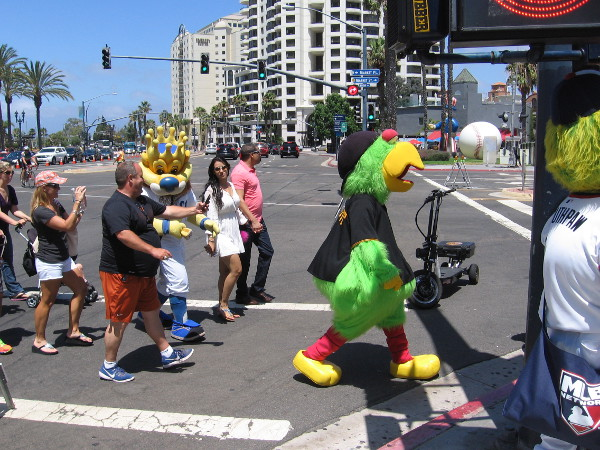 I see Pittsburgh's Pirate Parrot, Sluggerrr of the Kansas City Royals, and the south side of Southpaw, mascot of the Chicago White Sox!