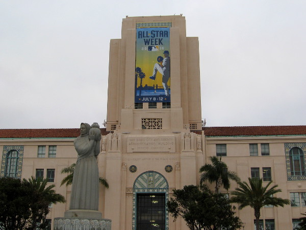 A large banner on the San Diego County Administration Building celebrates All-Star Week in 2016.
