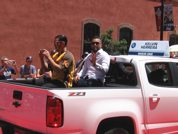 Being driven down the All-Star Game Red Carpet is Kelvin Herrera of the Kansas City Royals.