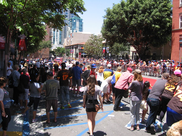 Lots of fans have converged along the parade route to enjoy one of the most popular MLB All-Star Game events in San Diego.