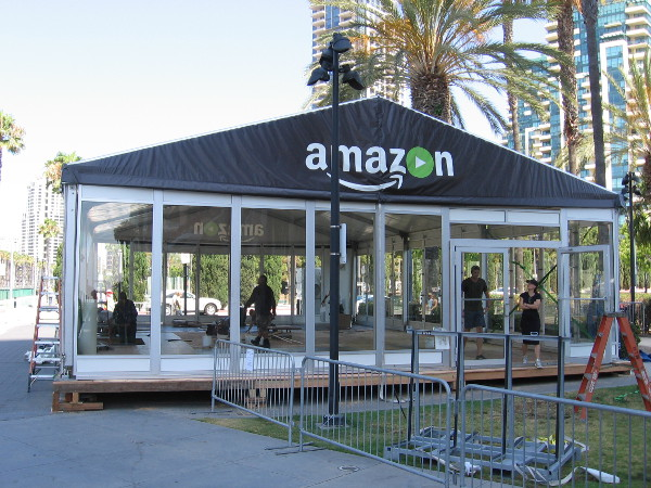 I was told this Amazon pavilion will be the scene of a virtual reality activity. I'm guessing lots of Comic-Con fan will be bumping around inside wearing VR headsets.