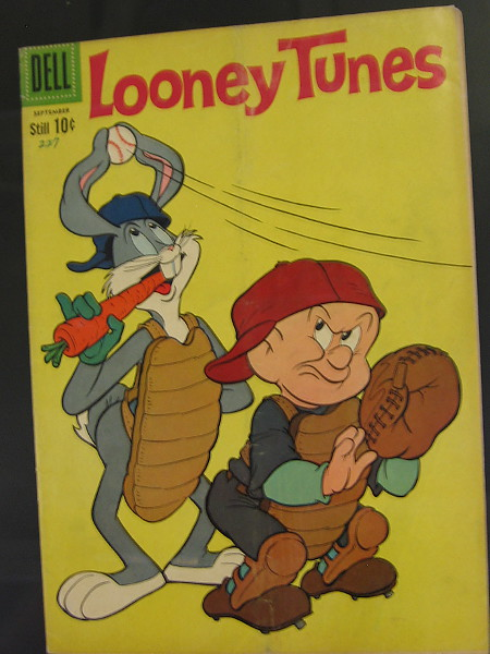Bugs Bunny's ears nimbly catch a pitched ball! Elmer Fudd is not amused.