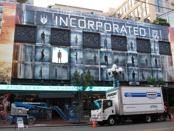 A huge graphic on the Hard Rock Hotel that includes video is nearly ready for 2016 San Diego Comic-Con. It promotes Incorporated, coming this fall on Syfy.