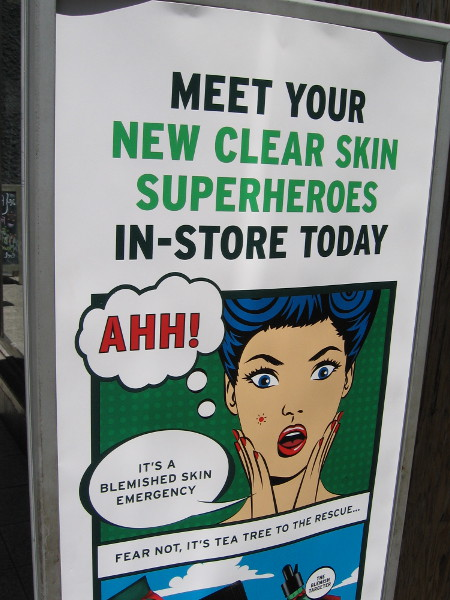 Good grief! Even a clear skin concoction vendor in the Horton Plaza shopping mall is ready for Comic-Con customers!