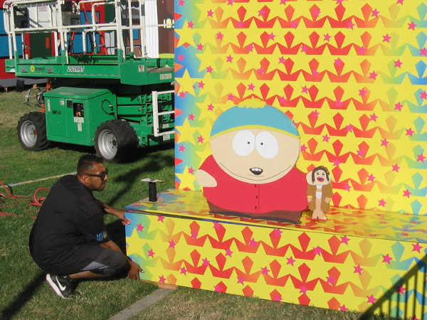 Cartman and his politically incorrect hand puppet.